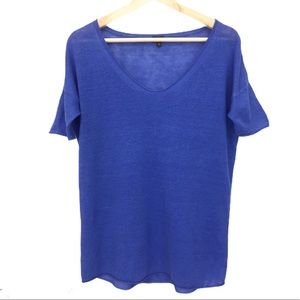 Aritzia -T. Babaton Royal Blue Linen V-Neck